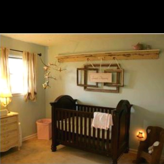 Love this Nursery with recycled materials and natural elements!