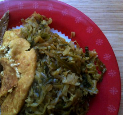... Vegan Kitchen: Brunch: Tofu Omelette with Dry Spiced Cabbage Filling