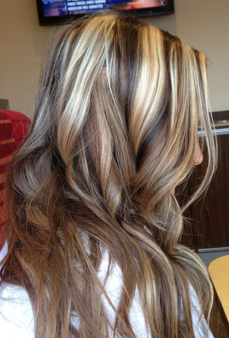 Dark brown lowlights and blonde highlights... Love this look... May do ...
