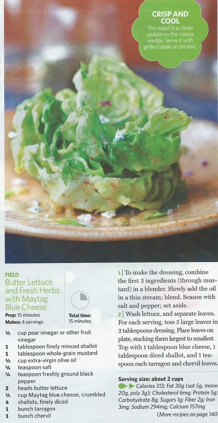 Butter lettuce and fresh herbs with maytag blue cheese