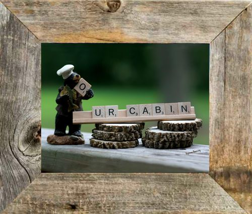 Cute Our Cabin Bear Rustic Scrabble Art Print Wall Decor