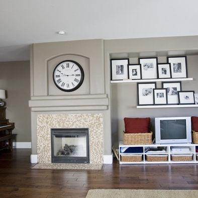 Living room floating shelves living room ideas pinterest for Ideas for floating shelves in living room