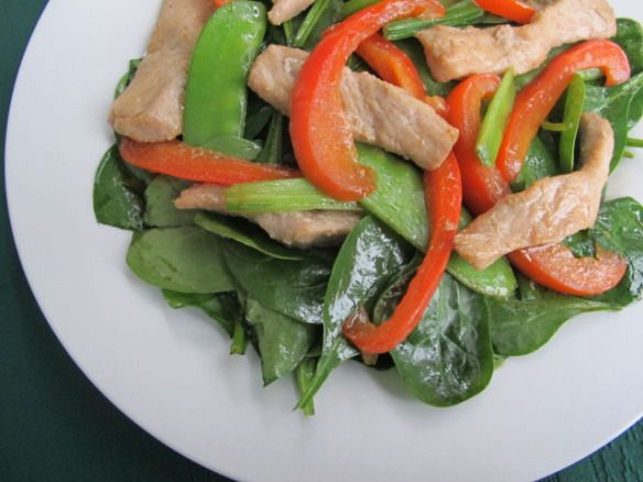 Spinach Salad with Stir-Fried Pork and Warm Ginger Vinaigrette (Use ...