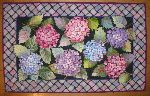 Hydrangea dyed & hooked by Kate Smith