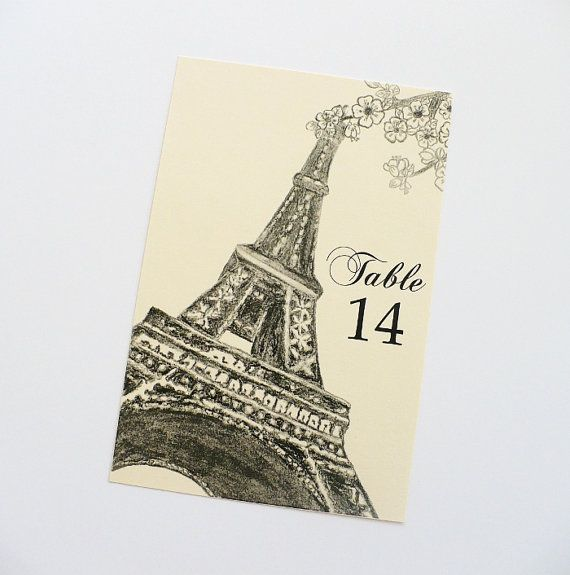 Paris Table Numbers for Weddings Receptions by AZCreativeStudio, $25.00