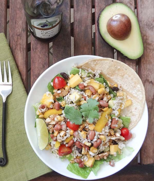 Rice Salad Tacos packed with fresh fruit, nuts, grains, beans, and ...