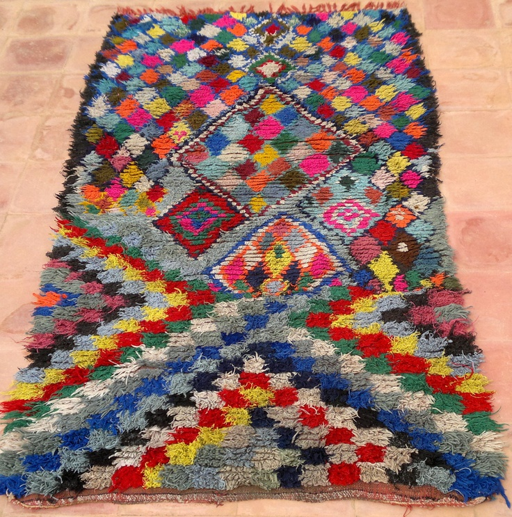 Vintage Moroccan Rug Woven By Hand From Scraps Of Fabric