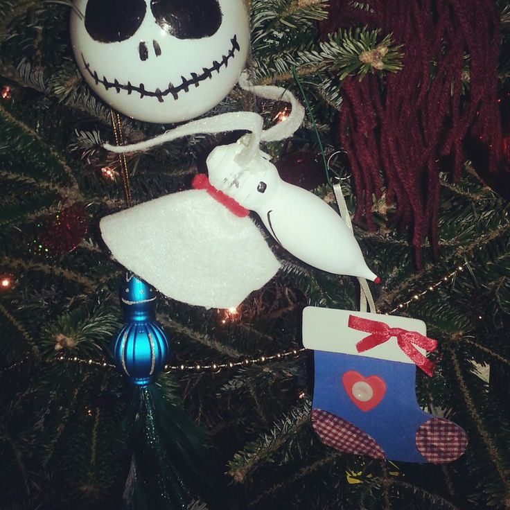 Recycled lightbulb Nightmare Before Christmas Zero ornament