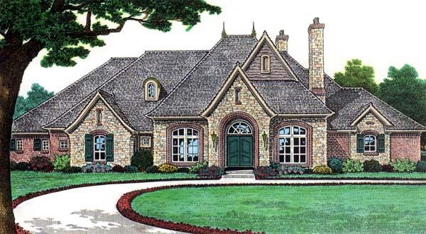 Bungalow european french country traditional house plan 66115 for European country house plans