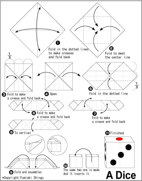 origami dice origami pinterest