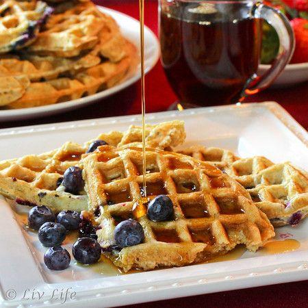 Blueberry Waffles... light and crispy, breakfast for dinner