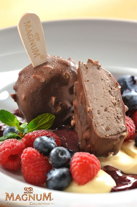 Chocolate Magnum ice cream bar with a delicious creme brulee, fresh ...
