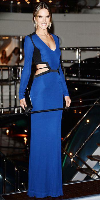 Alessandra Ambrosio in royal blue Roberto Cavalli in Cannes 2013
