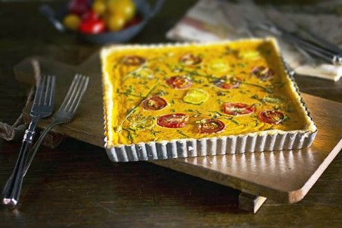 Gluten-Free Heirloom Tomato Tart Blending the cheese with the tomatoes ...