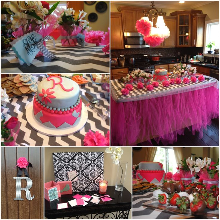 baby shower decor for baby girl in grey and white chevron and pink