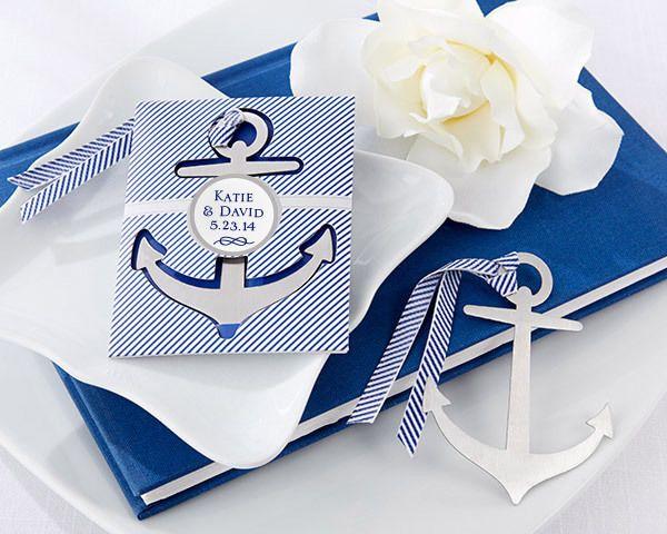 anchor nautical brushed metal bookmark cruise ship wedding favors ka
