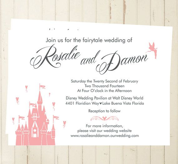 Disney Wedding Invitation Fairytale Party Mickey Wedding Magic Kingdo