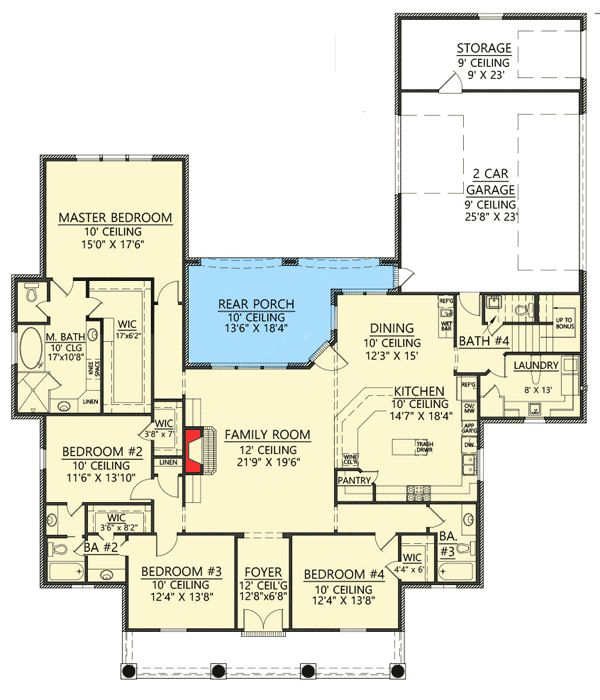 4 bed acadian house plan with bonus room On house plans with bonus room