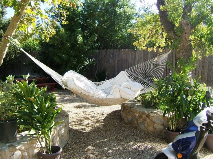 backyard hammock  outdoors  Pinterest
