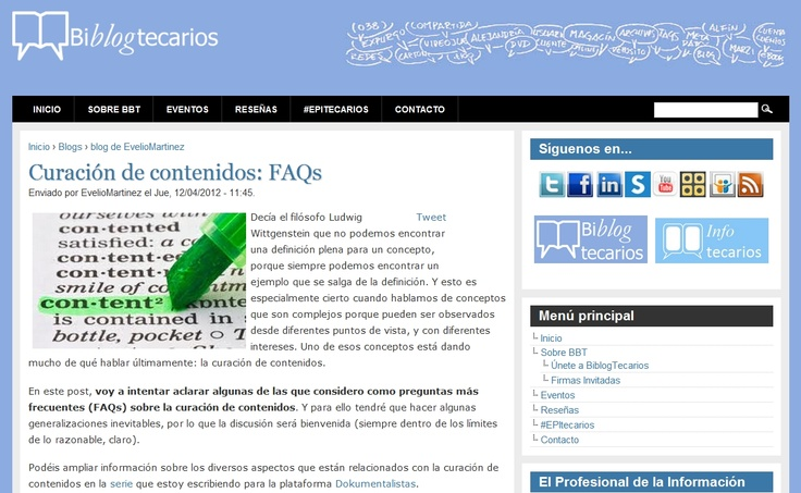 Curación de Contenidos FAQs by Evelio Martínez para Biblogtecarios