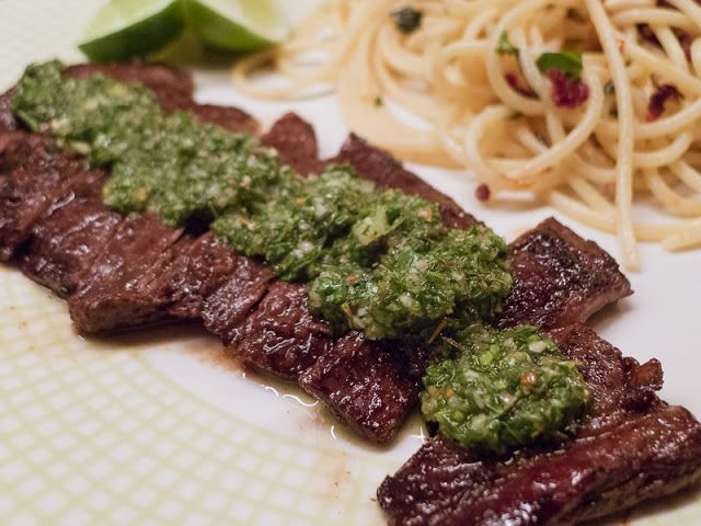 Churrasco skirt steak marinated, chimichurri, italian parsley oregano ...
