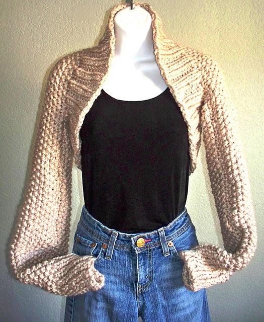 Long Sleeved Shrug Knitting Pattern : Easy Weekend Long Sleeve Shrug pattern by Karen Johnson Bennett