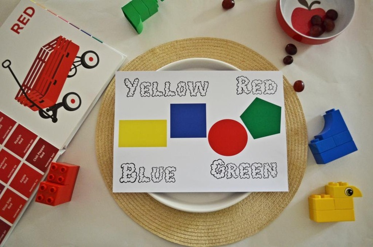 On The Blog - The 2nd in our series of printable pace mats - learning to identify primary colours- FREE Printable + activity ideas