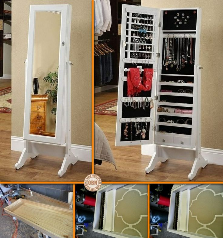 Diy mirror jewelry cabinet for the home pinterest for Diy mirrored kitchen cabinets