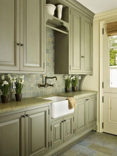 liking that green on the cabinets  Mudroom Laundry  Pinterest