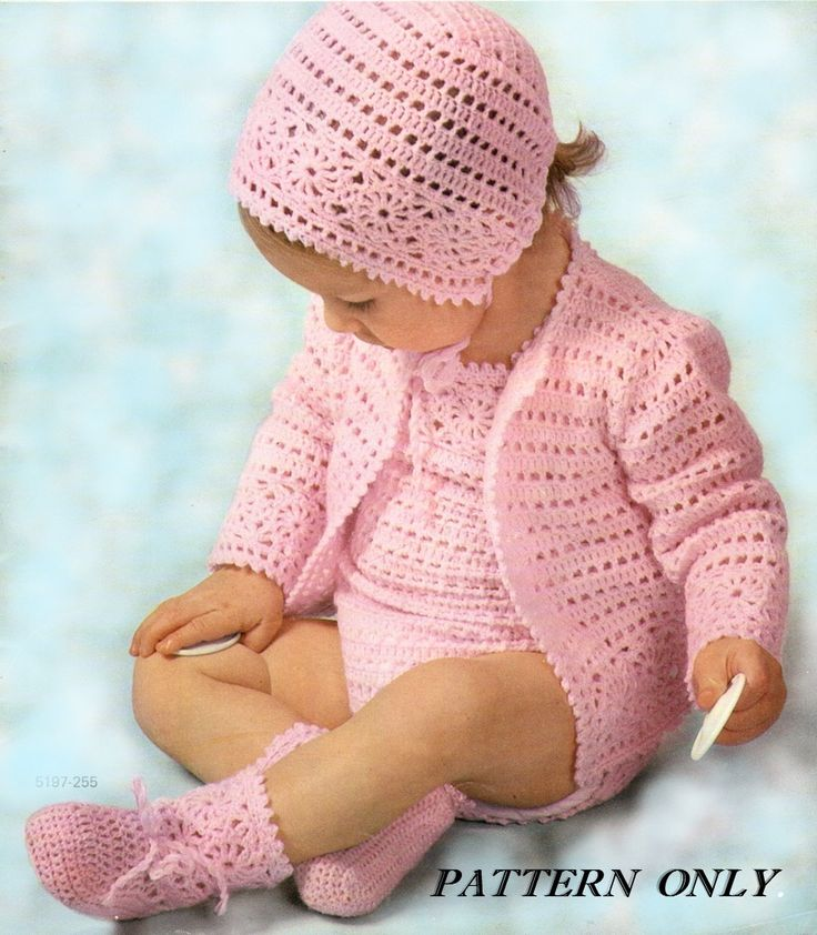 Crochet Baby Bonnet And Booties Pattern : Instant download crochet pattern - Baby rompers, sweater ...