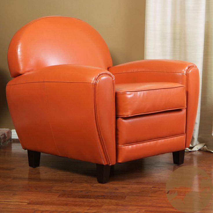 Oversized Burnt Orange Leather Club Chair