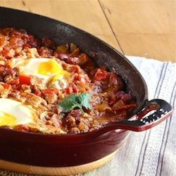 Moroccan Ragout with Poached Eggs