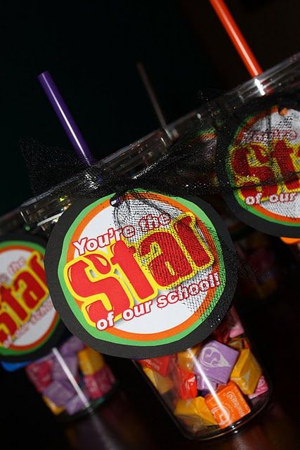 "Starburst filled cups! Could even give as a teacher's gift to say ""Star Teacher!"""