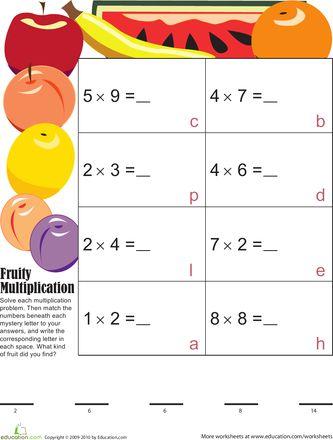 Worksheets: Mystery Fruit Multiplication 4