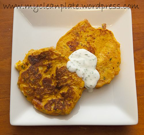 Pumpkin, chive, and feta fritters - really good! I mixed extra feta ...