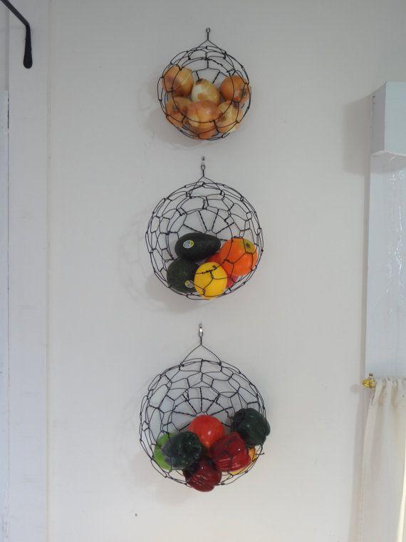 Handmade Hanging Fruit Basket : Handmade wall hanging wire basket set