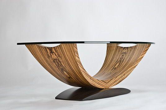 Zebra Wood Glass Coffee Table Kurve Furniture Pinterest