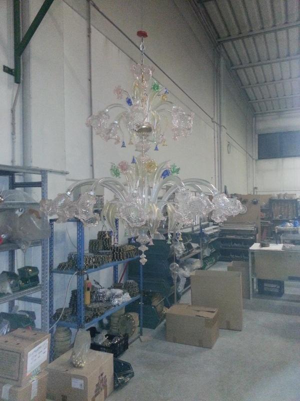 lampadario veneziano : Lampadario veneziano doppio palco in vetro artistico cristallo con ...