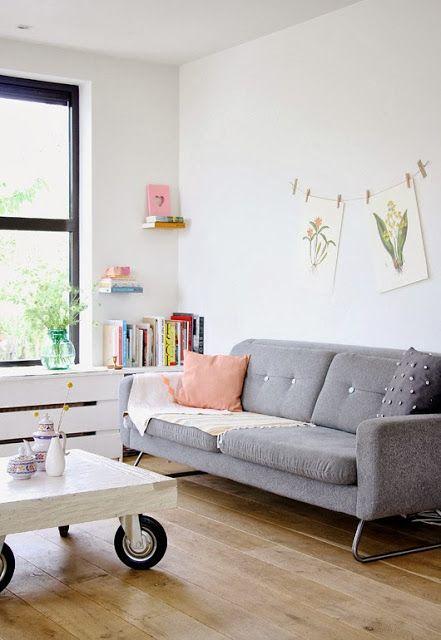 Decoracion Living Peque?os Fotos ~ Un precioso sal?n con un sof? gris como protagonista