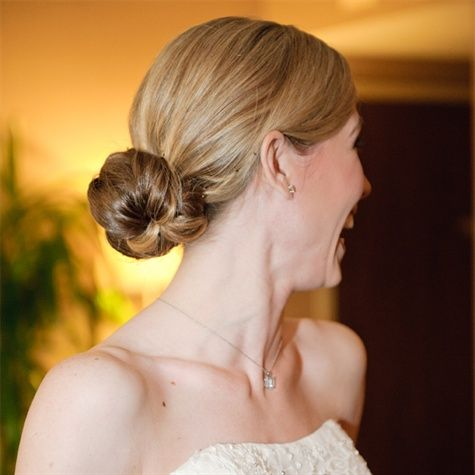 low maintenance hairstyles for thick hair : Low Bun Bridal Hairstyle Hair Pinterest