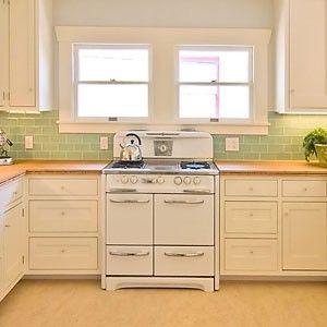 love the jadite colored backsplash kitchens pinterest