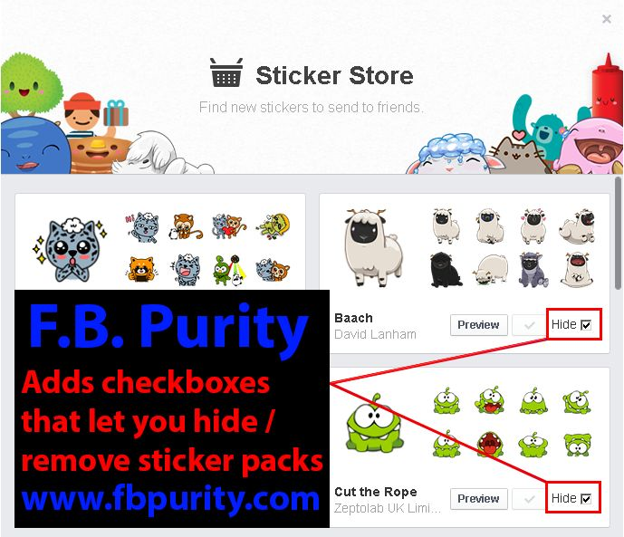 Hide / Remove / Get Rid of Facebook Sticker Packs with the FB Purity browser extension