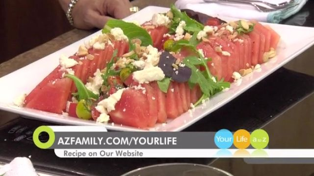 Melon and Tomato Salad with Feta & Toasted Almonds