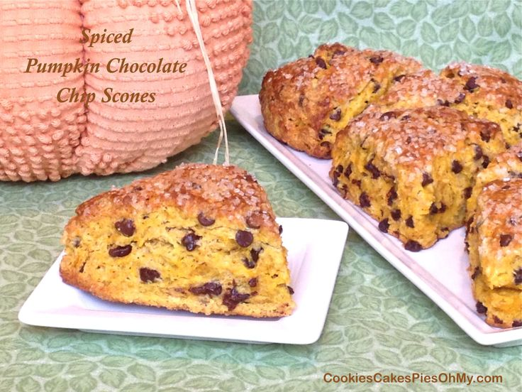 Spiced Pumpkin Chocolate Chip Scones via Cookies, Cakes, Pies, Oh My!
