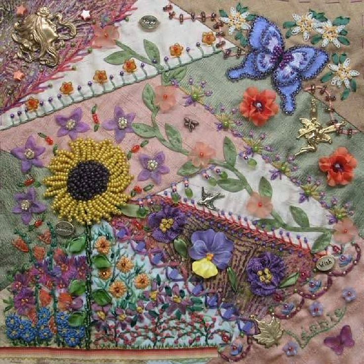 I crazy quilting beading embroidery cq pansy