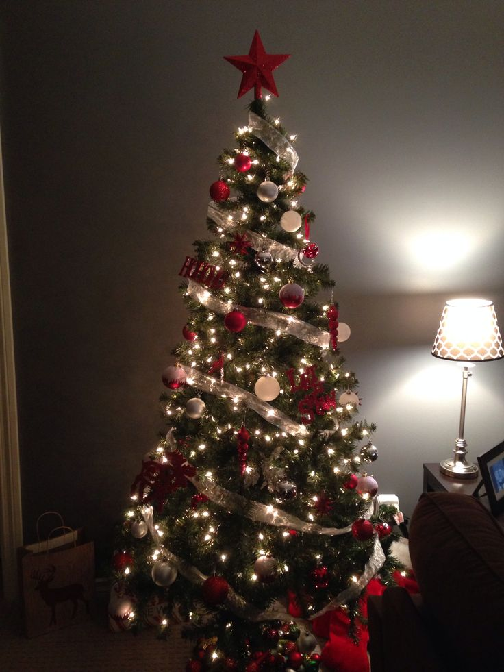 Red And Silver Christmas Tree For The Home Pinterest
