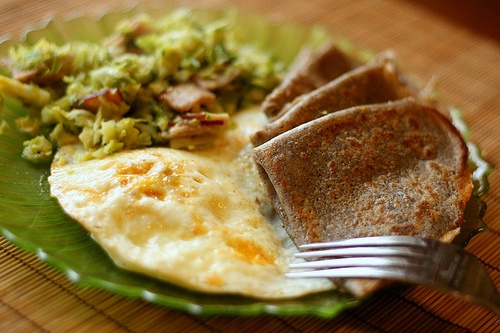 Buckwheat Crêpes, Fried Eggs, and Brussels Sprouts Hash...what if you ...