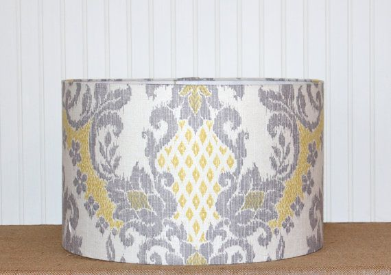 grey and yellow ikat drum lampshade by sassyshades on etsy. Black Bedroom Furniture Sets. Home Design Ideas