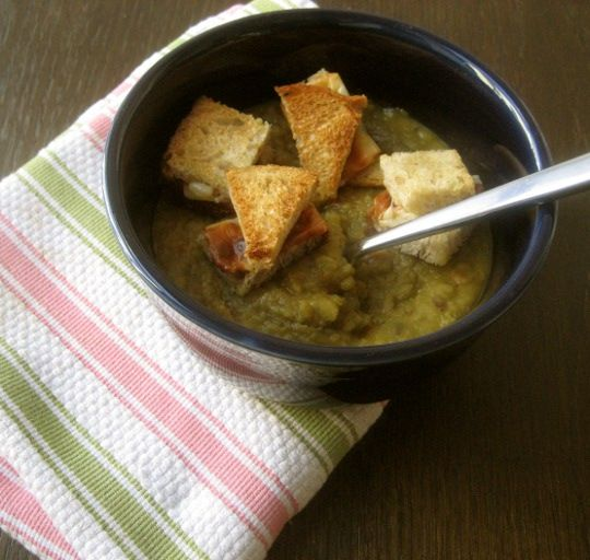 Split Pea Soup with Grilled Cheese Croutons | Recipe