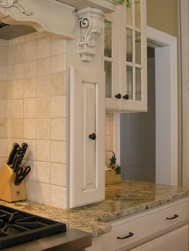 Pull-Out Spice Rack Built Into Custom Wood Hood (Closed) traditional ...